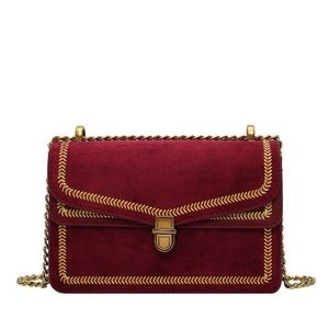 Red & Gold Small Faux Suede Cross Body Chain Purse